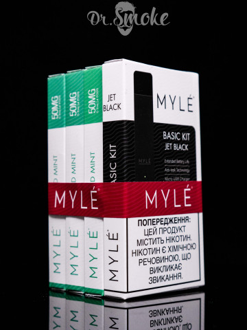 Myle Vapor Black Promo Kit 3x Mint pods Magnetic Edition